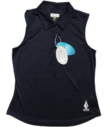 Greg Norman Embossed Dot Sleeveless Polo - Navy