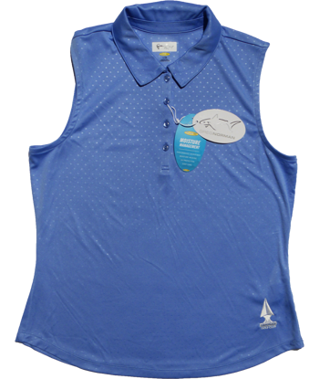 Embossed Dot Sleeveless Polo - Caymen Blue