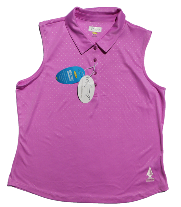 Picture of Greg Norman Embossed Dot Sleeveless Polo - Orchid