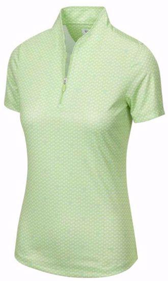 Greg Norman Women's Palm Tree Foulard Polo w/ Nehoiden Logo - Lime Green