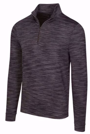 Greg Norman Men's Long Sleeve Heather Mesh 1/4 Zip w/ Nehoiden Logo - Black