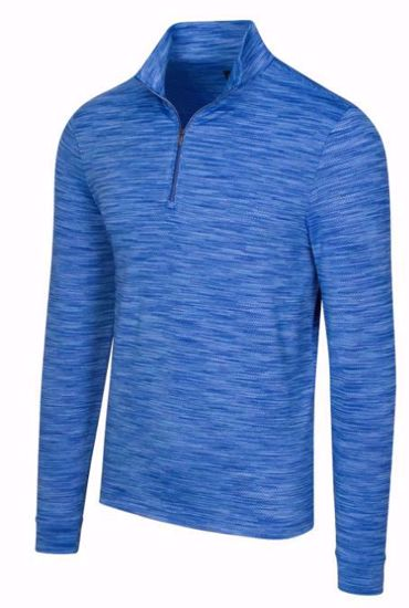 Greg Norman Men's Long Sleeve Heather Mesh 1/4 Zip w/ Nehoiden Logo - Maritime