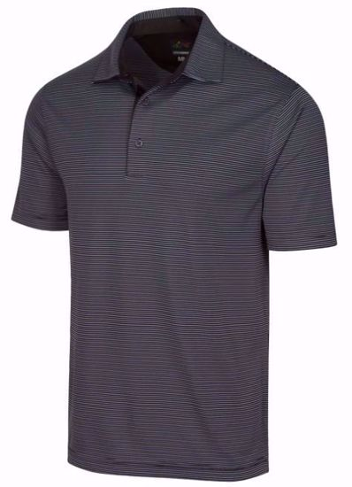 Greg Norman Men's ML75 Micro Stripe Polo w/ Nehoiden Logo - Black