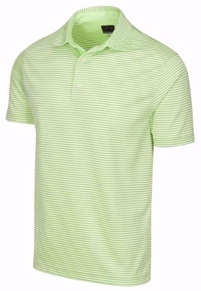 Greg Norman Men's ML75 Micro Stripe Polo w/ Nehoiden Logo - Lime Green