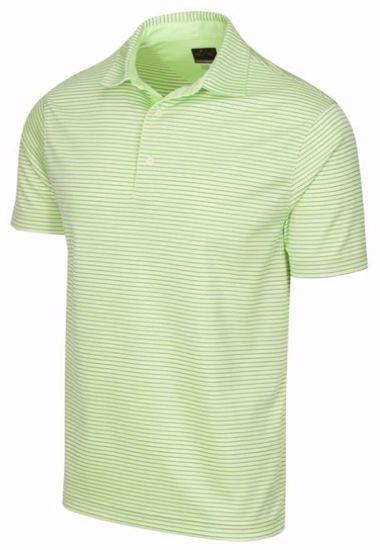 Greg Norman Men's ML75 Micro Stripe Polo w/ Nehoiden Logo - Lime Green