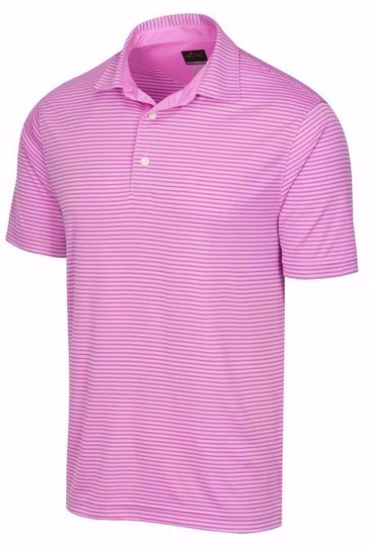 Greg Norman Men's ML75 Micro Stripe Polo w/ Nehoiden Logo -Light Magenta