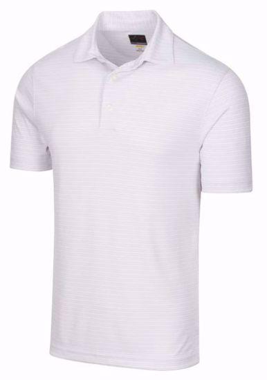 Greg Norman Protek Oxford Stripe Polo w/ Nehoiden Logo – Shark Gray