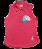 Embossed Dot Sleeveless Polo - Pink