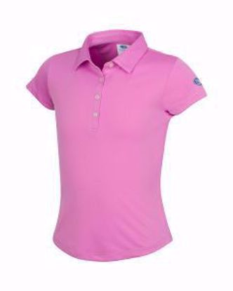 Picture of Girls U.S. Kids Golf Collection by Greg Norman ML75 Solid Polo w/Nehoiden Logo - Light Magenta