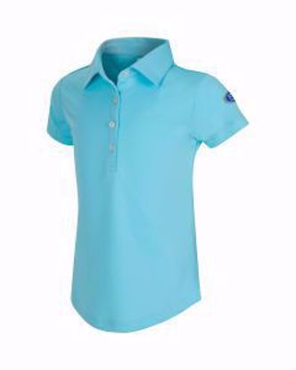 Picture of Girls U.S. Kids Golf Collection by Greg Norman ML75 Solid Polo w/Nehoiden Logo - Aqua