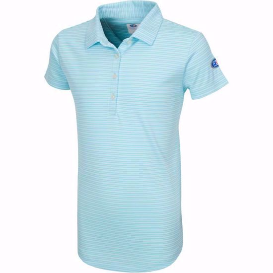 Picture of Girls U.S. Kids Golf Collection by Greg Norman Micro Stripe Polo w/Nehoiden Logo - Aqua Stream