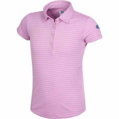 Picture of Girls U.S. Kids Golf Collection by Greg Norman Micro Stripe Polo w/Nehoiden Logo - Magenta Stream