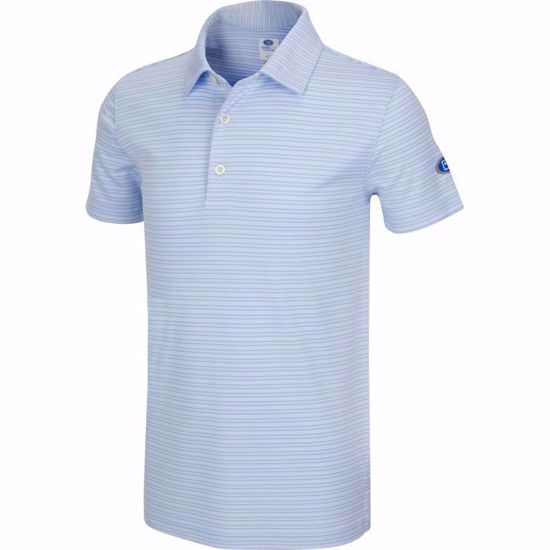Picture of Boys U.S. Kids Golf Collection by Greg Norman Micro Stripe Polo w/Nehoiden Logo - Blue Stream