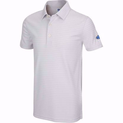 Picture of Boys U.S. Kids Golf Collection by Greg Norman Micro Stripe Polo w/Nehoiden Logo - Shark Gray